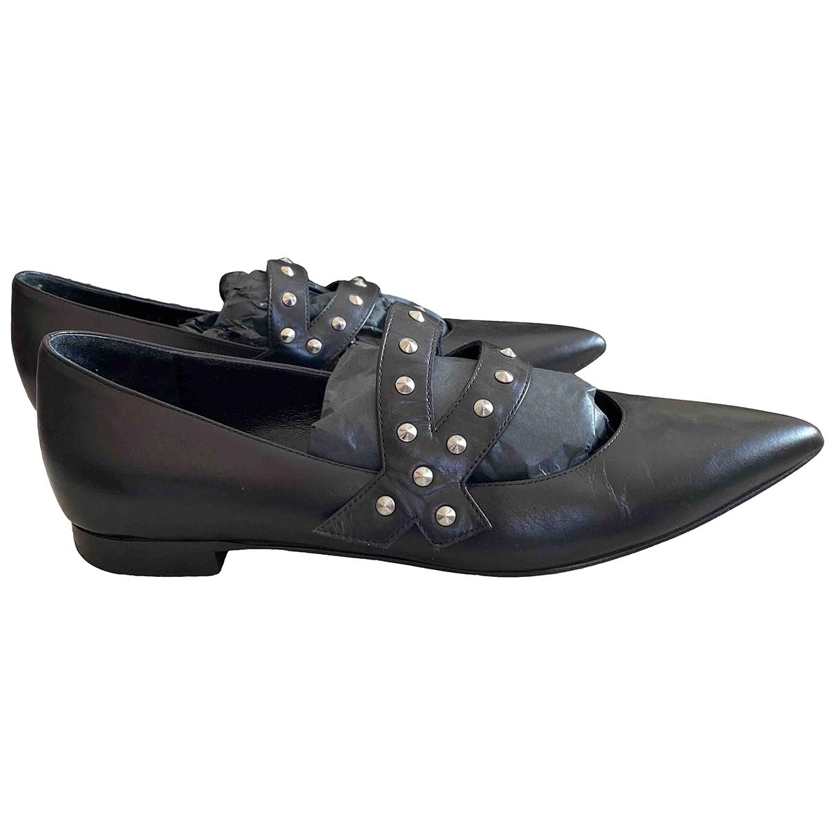 Saint Laurent \N Black Leather Ballet flats for Women 35 EU