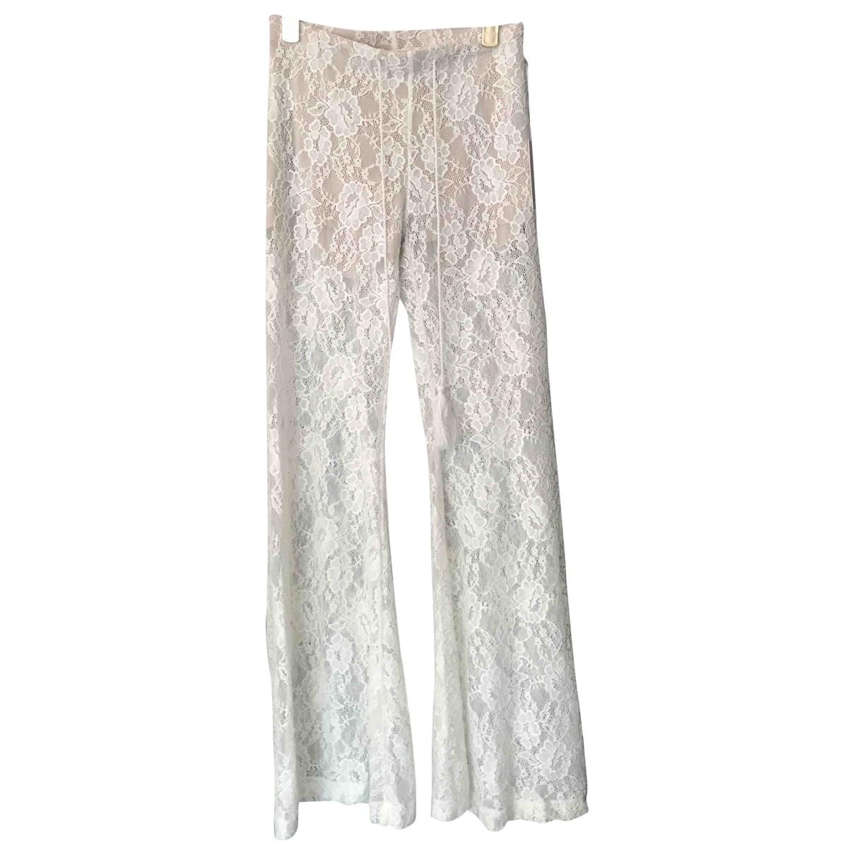 Pantalon en Poliester Beige Non Signe / Unsigned
