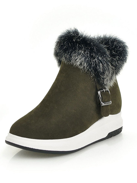 Milanoo Brown Winter Boots Suede Round Toe Fur Detail Short Boots Women Snow Boots