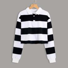 Colorblock Polo Neck Crop Sweatshirt