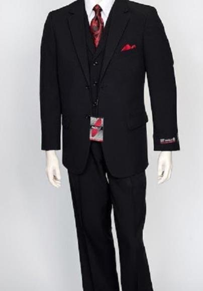 Men's Black Two Button Poly Poplin Dress Suit 3Piece Vest Pleated Pant