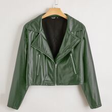Plus Solid Zip Up PU Leather Moto Jacket