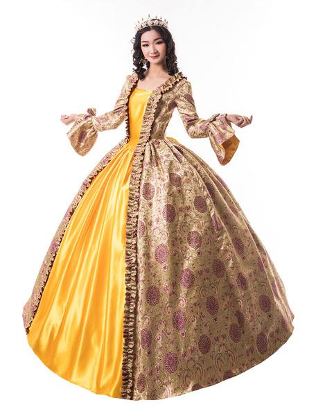 Milanoo Victorian Dress Costume Women's Blondel Trumpet long Sleeves Ruffle Floral Print Ball Gown Victorian Era Style Set Vintage Clothing Halloween