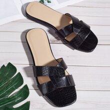 Open Toe Croc Embossed Slide Sandals