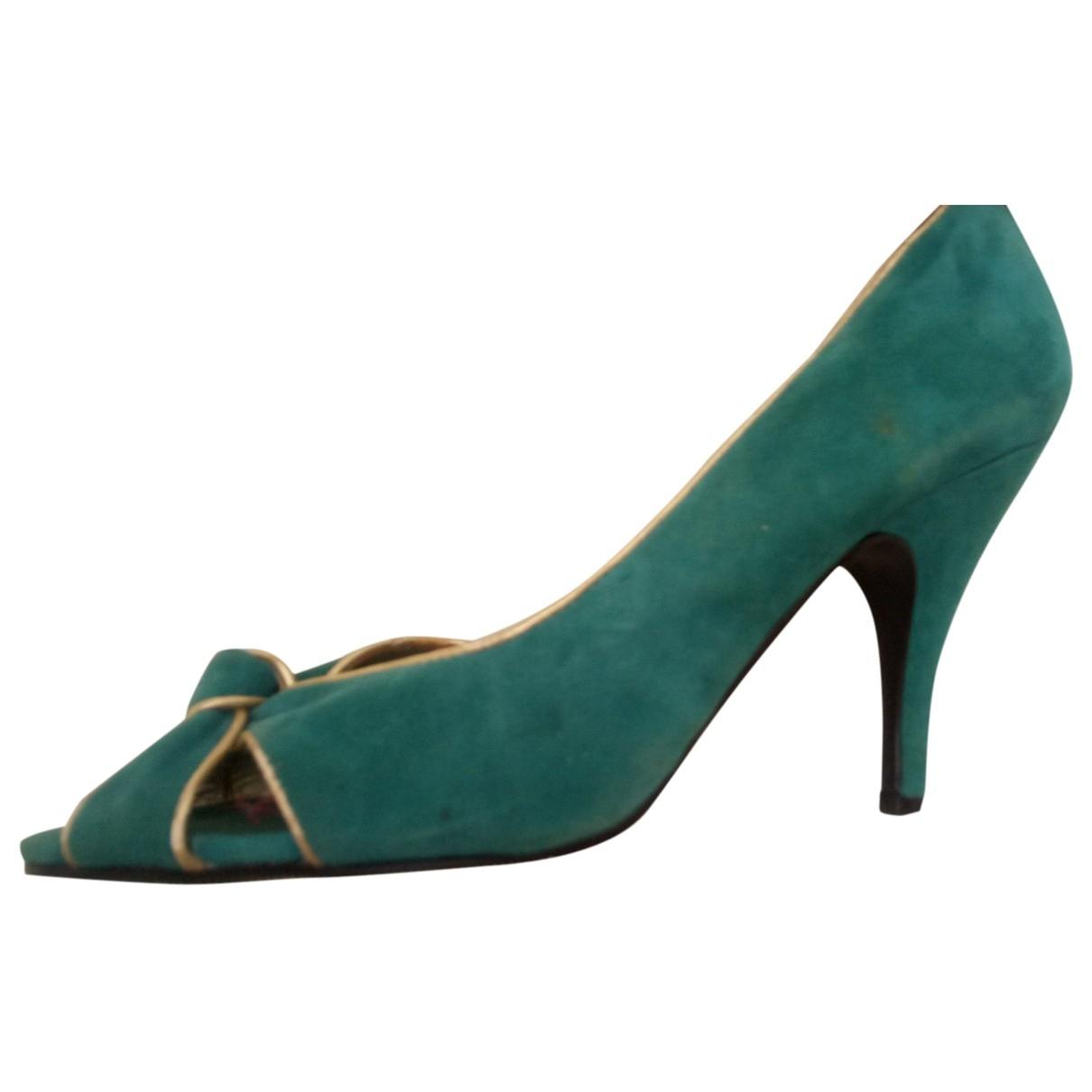 - Escarpins   pour femme en cuir - turquoise