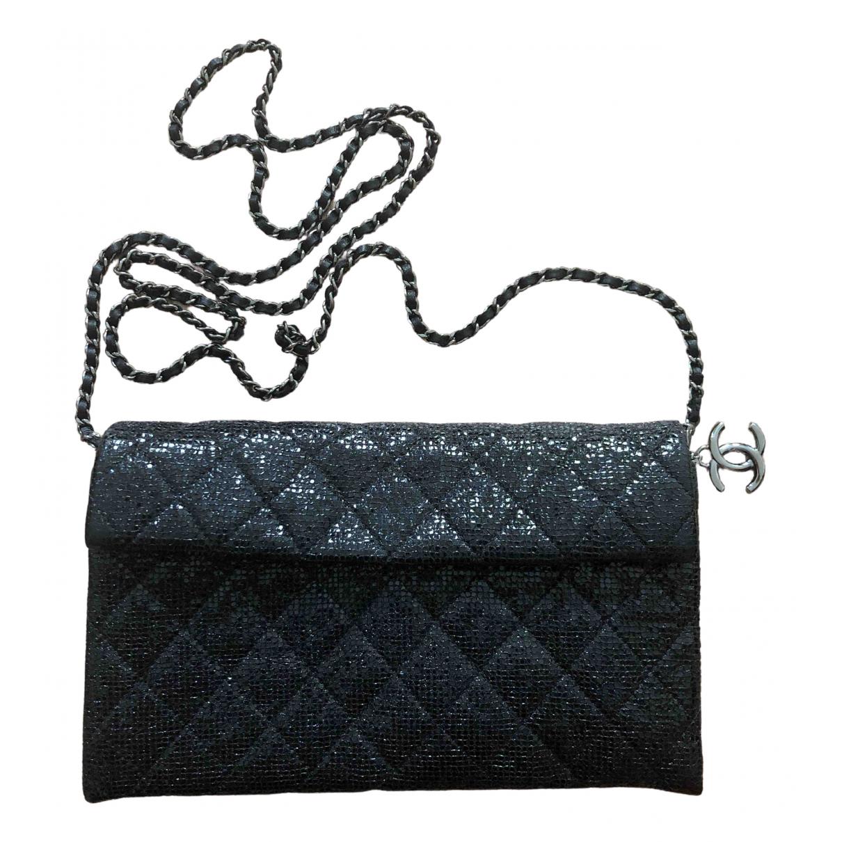 Chanel - Pochette Wallet on Chain pour femme en a paillettes - gris