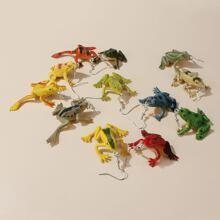 6pairs Frog Charm Drop Earrings