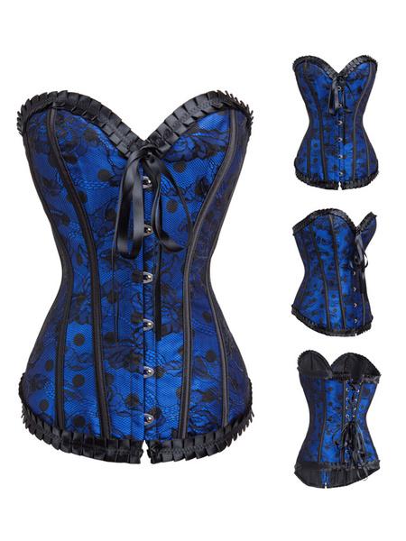 Milanoo Corse adornado con encaje con pliegues De banda de encaje con escote en corazon femenino