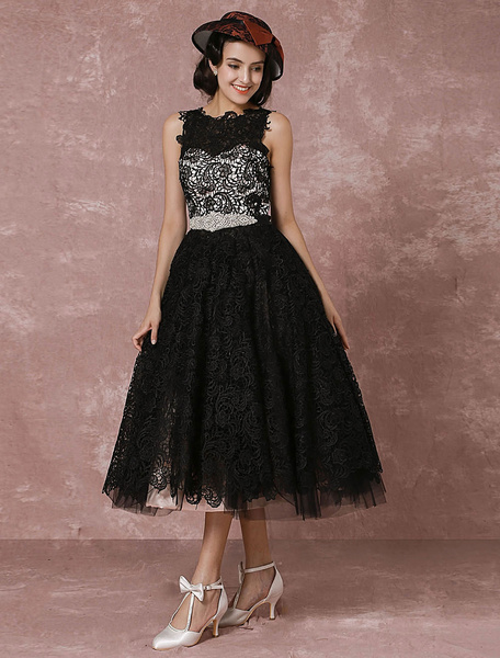 Milanoo Black Wedding Dress Black Lace Vintage Bridal Gown Rhinestone Sash Tea-length Illusion Short Cocktail Dress