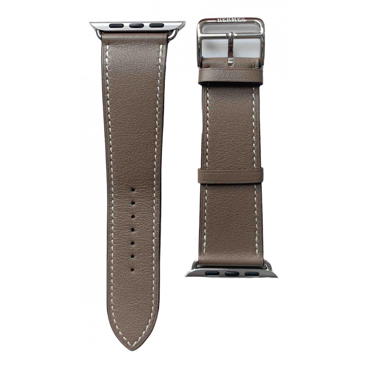 Hermes - Montre Apple Watch x Hermes 42mm pour femme en cuir - gris