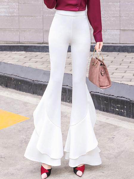 Milanoo Flared Leg Pants White Ruffles High Raised Bell Bottom Trousers