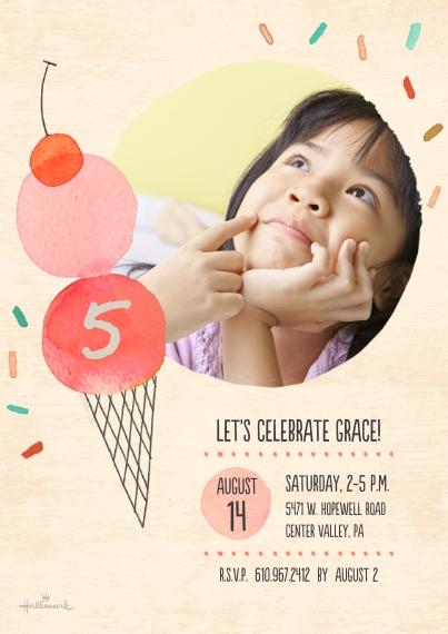 Kids Birthday Party Invites 5x7 Cards, Premium Cardstock 120lb with Elegant Corners, Card & Stationery -Ice Cream & Sprinkles