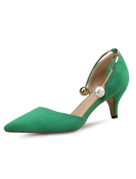 Milanoo Pointed Toe Heels Kitten Heel D'orsay Pumps Green Pearls Detail Ankle Strap Women Shoes