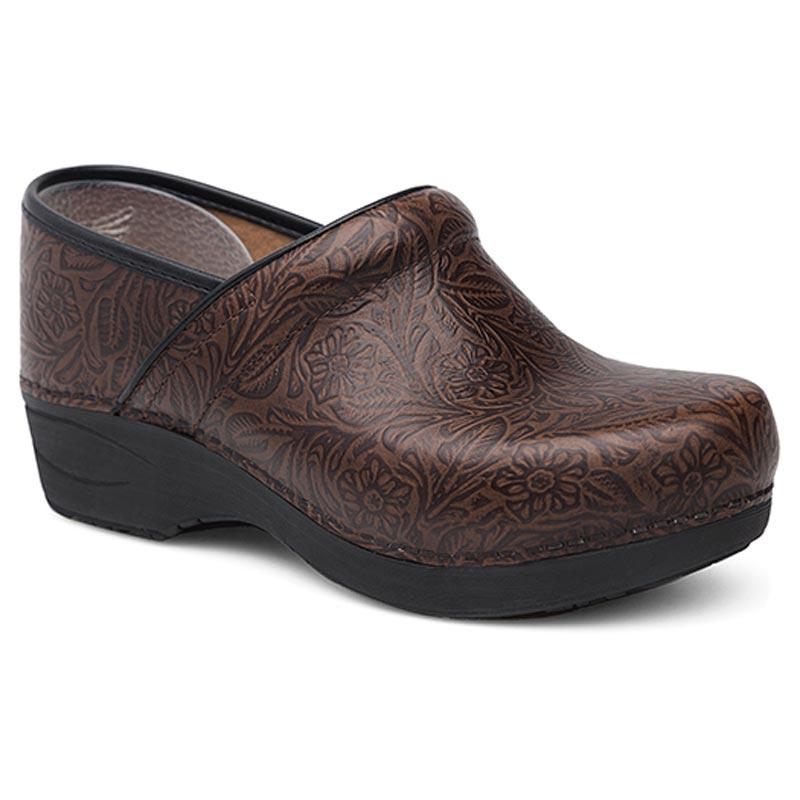 Dansko Pro Xp 2.0 Brown Floral Tooled Leather Slip-Resistant 41 R