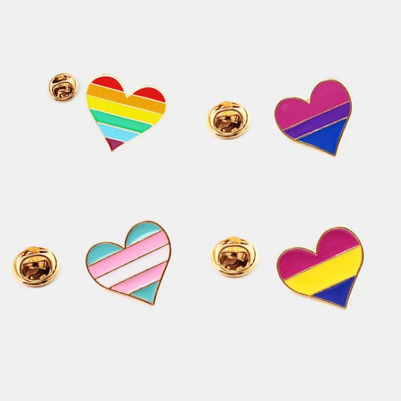 Creative Cute Heart Shaped Letter Badge Brooch Rainbow Love Brooch Women Jewelry