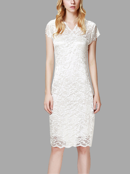 Yoins White Lace Mini Party Dress with V Neck