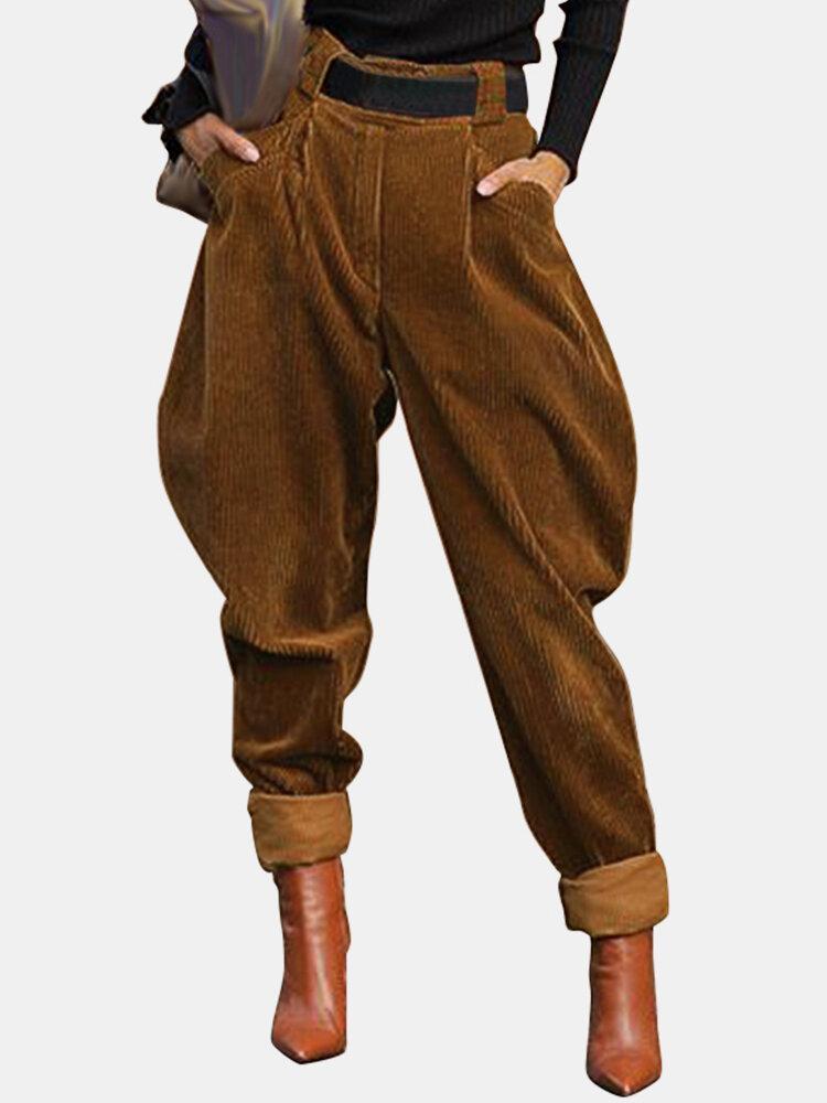 Solid Color High Waist Elastic Waist Casual Corduroy Pants For Women