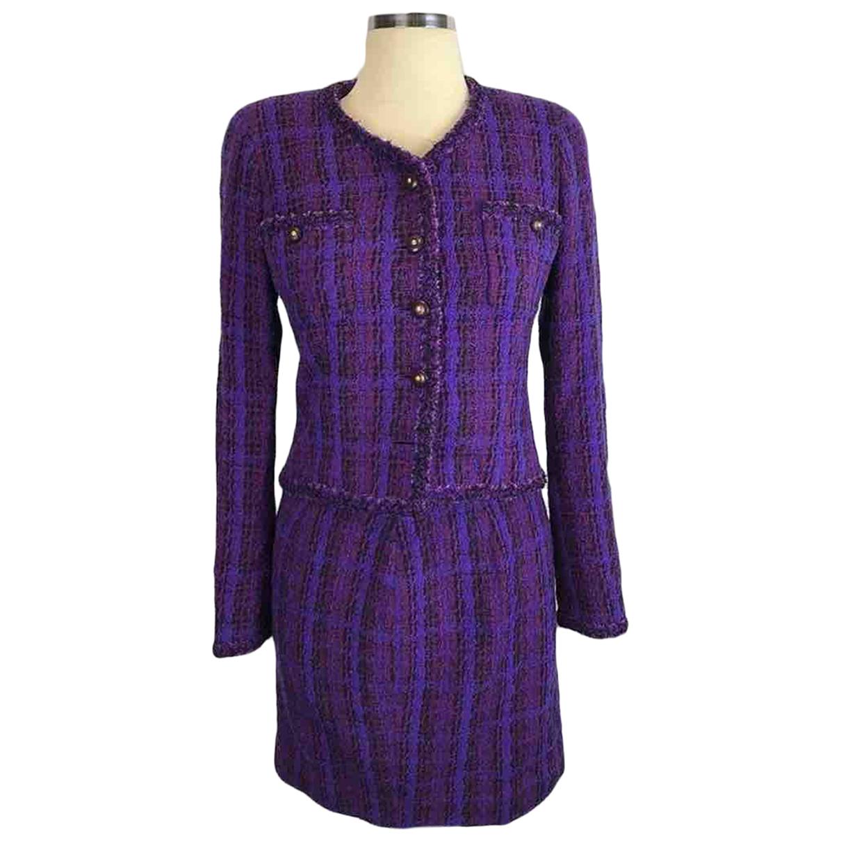 Chanel N Purple Tweed jacket for Women 38 FR