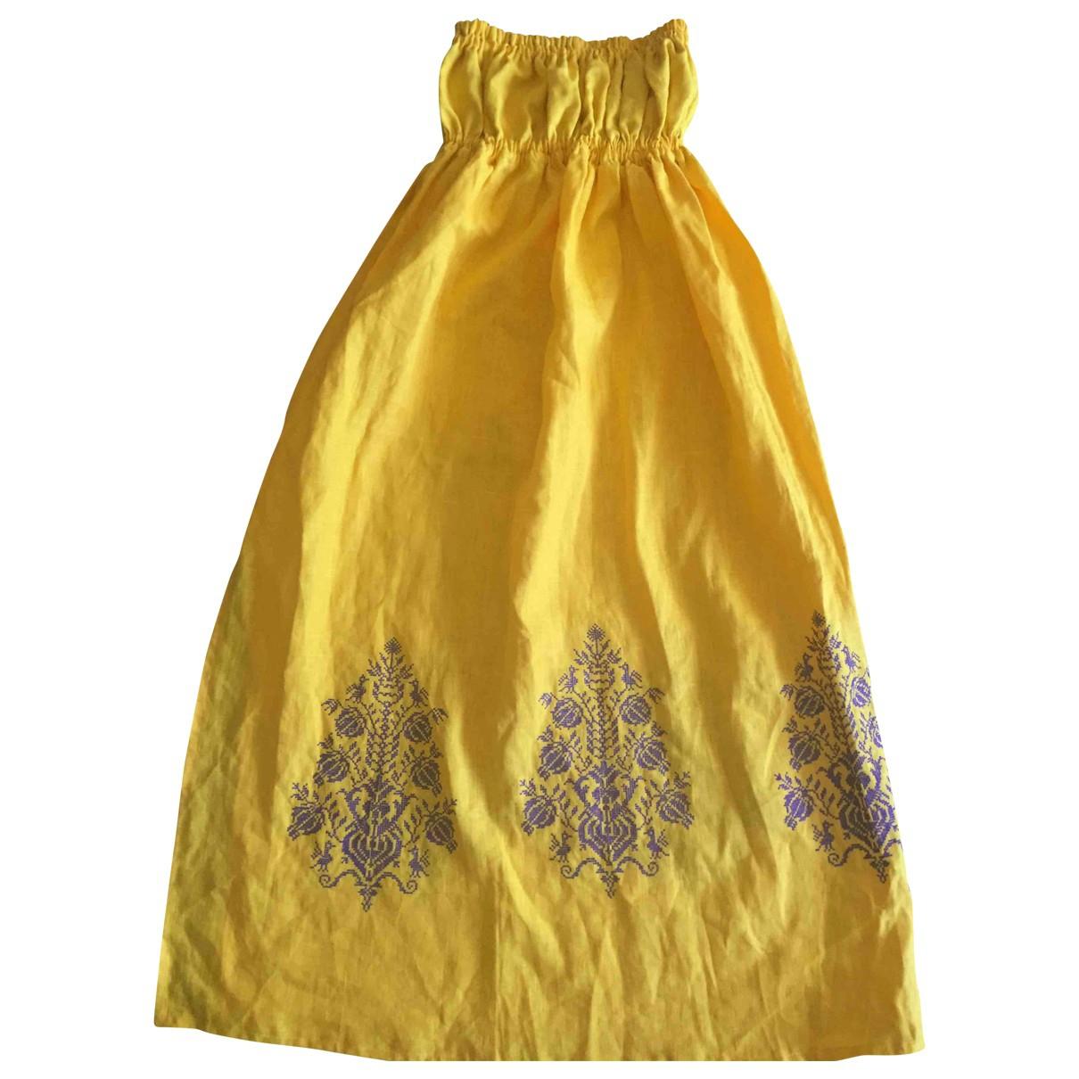 Non Signe / Unsigned \N Kleid in  Gelb Leinen