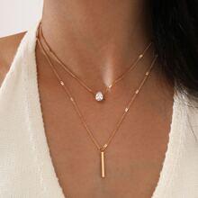 2pcs Bar Charm Necklace