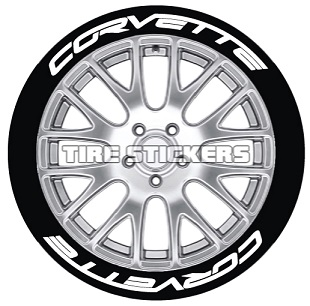Tire Stickers CORVTT-1921-125-8-B Permanent Raised Rubber Lettering 'Corvette' Logo - 8 of each -19