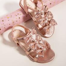 Kleinkind Maedchen Sandalen mit Schleief Dekor und Klettverschluss