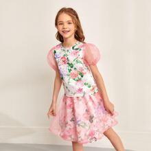 Girls Puff Sleeve Floral Top & Organza Overfly Skirt Set