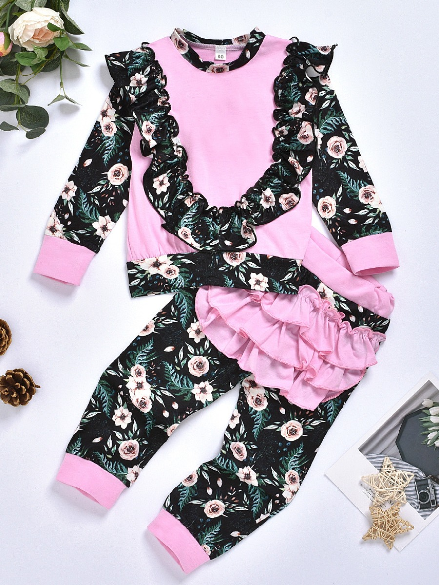 LW lovely Sweet O Neck Floral Print Patchwork Multicolor Girl Two-piece Pants Set