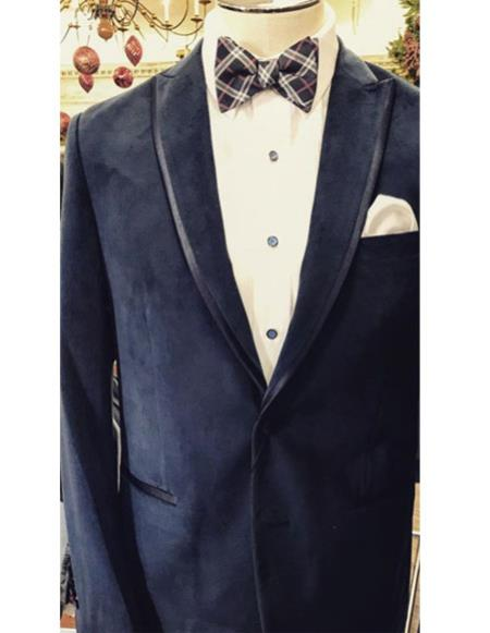 Mens Single Breasted tuxedo Trimmed peak Lapel Navy Blue suit