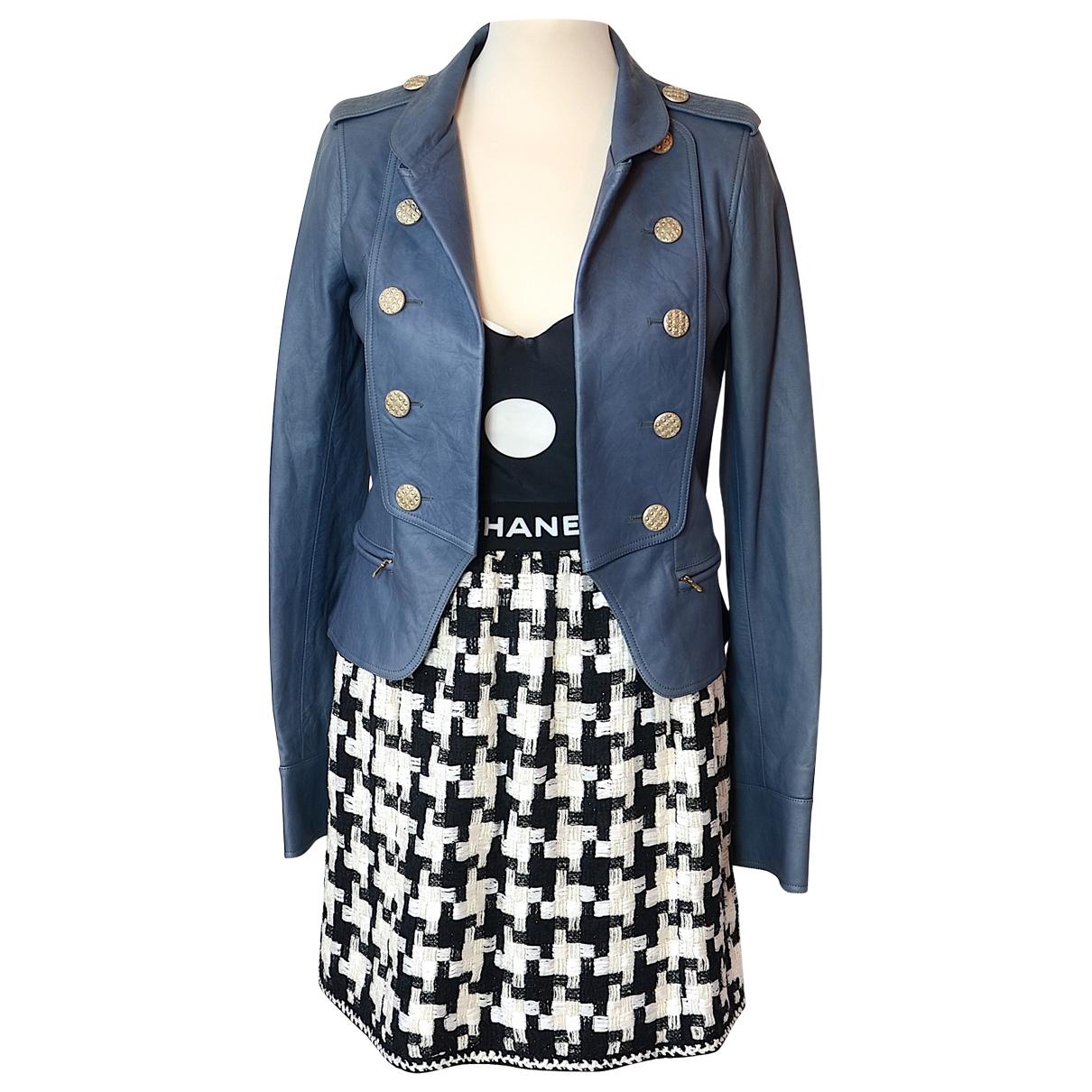 Chanel - Veste   pour femme en cuir - bleu