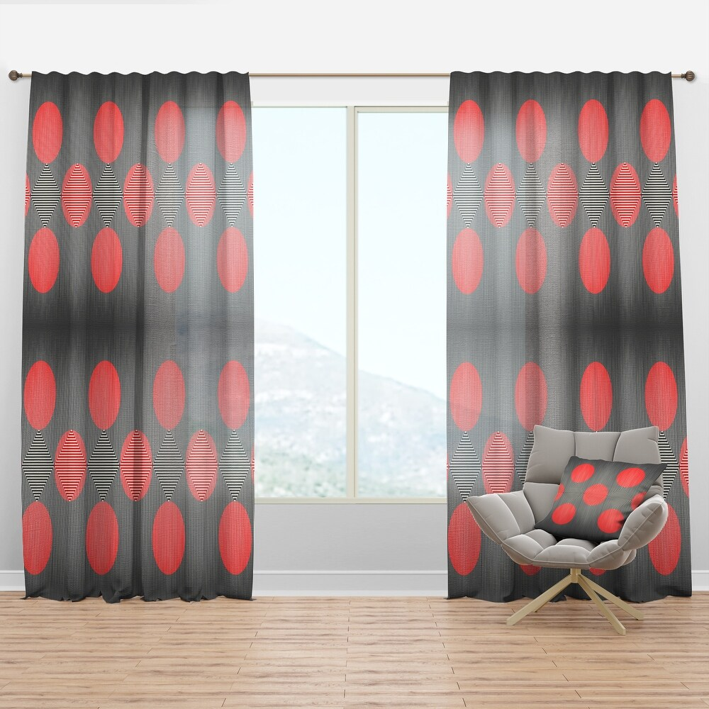 Designart 'Modern Circle and Line Geometric Pattern' Mid-Century Modern Curtain Panel (50 in. wide x 120 in. high - 1 Panel)