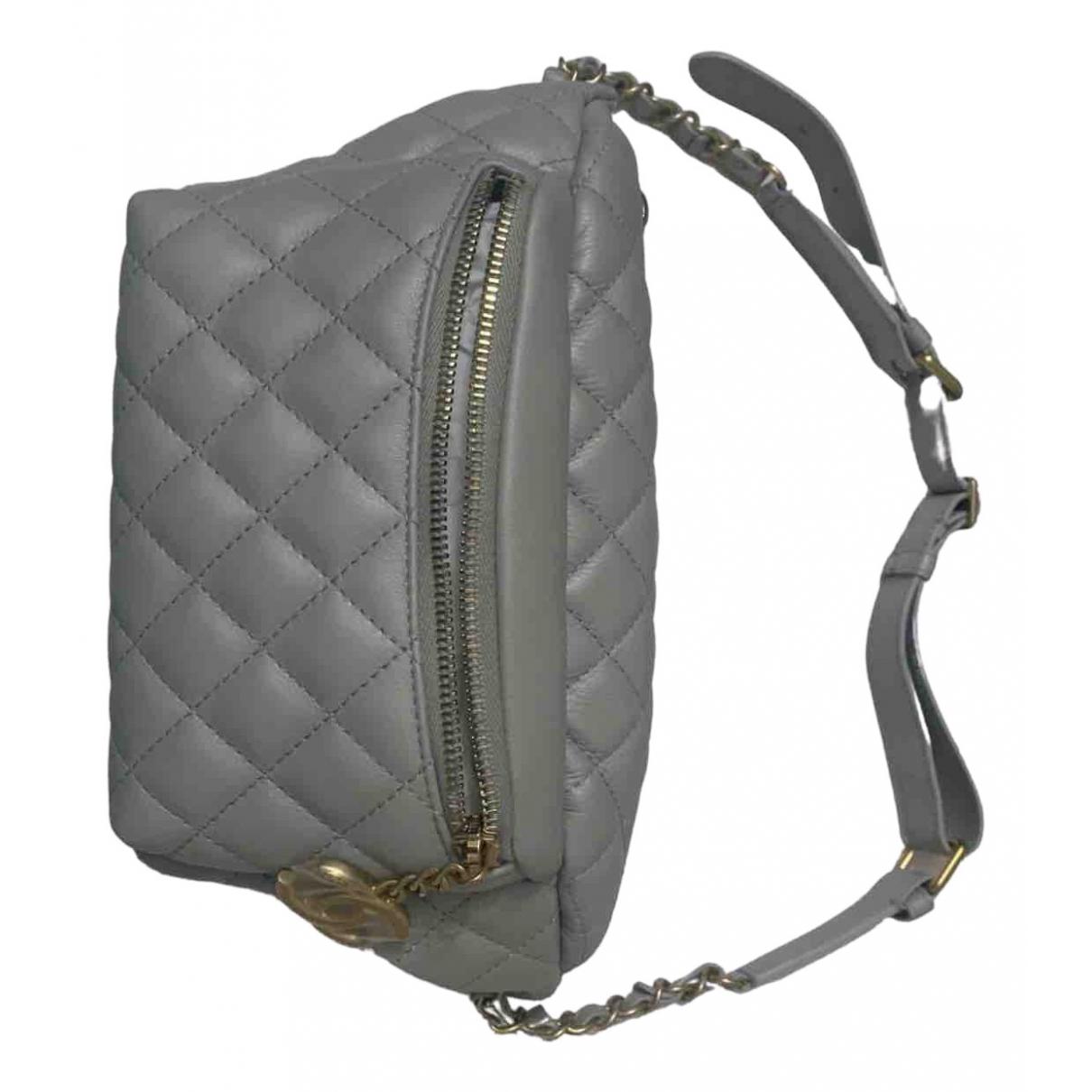 Chanel - Pochette   pour femme en cuir - gris