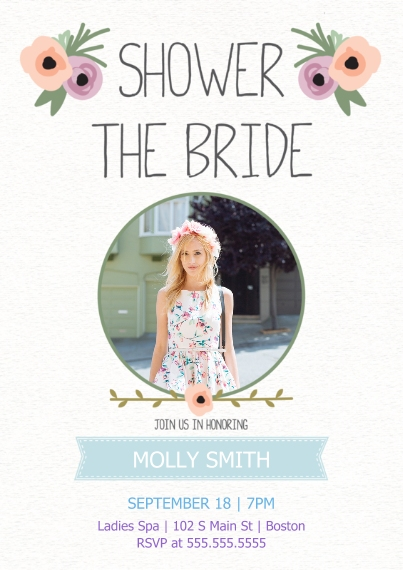 Wedding Shower Invites 5x7 Cards, Premium Cardstock 120lb with Elegant Corners, Card & Stationery -Flower Ribbon Shower the Bride