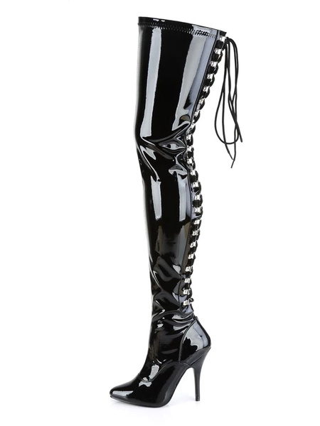 Milanoo Women Sexy Boots Pointed Toe Zipper Sequins Stiletto Heel Rave Club Black Thigh High Boots
