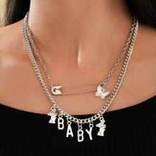 Letter & Butterfly Decor Layered Necklace