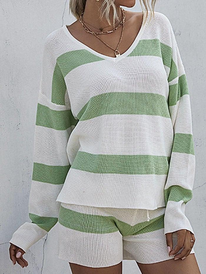 Striped Sweater and Drawstring Knit Shorts Set