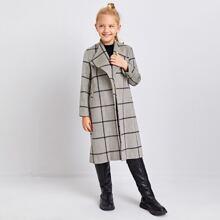 Mantel mit Plaid Muster und Knopfen
