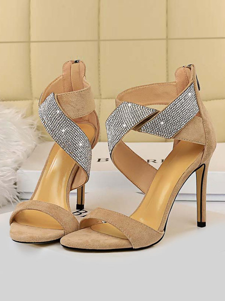Milanoo High Heel Sandals Womens Rhinestones Open Toe Knotted Ankle Strap Stiletto Heel Sandals