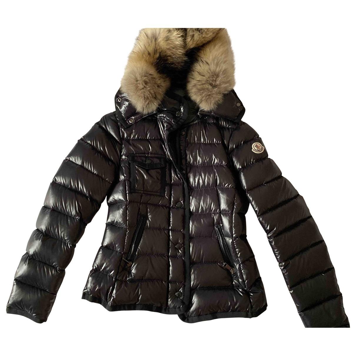 Moncler Fur Hood Maentel in  Schwarz Synthetik