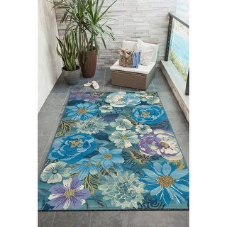 Liora Manne Marina Flower Field Indoor/Outdoor Rug Cool (4'10