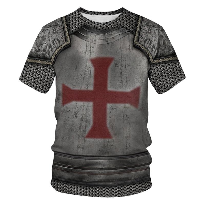 Modern Round Neck Cross Pattern War Suit 3D Painted T-Shirt