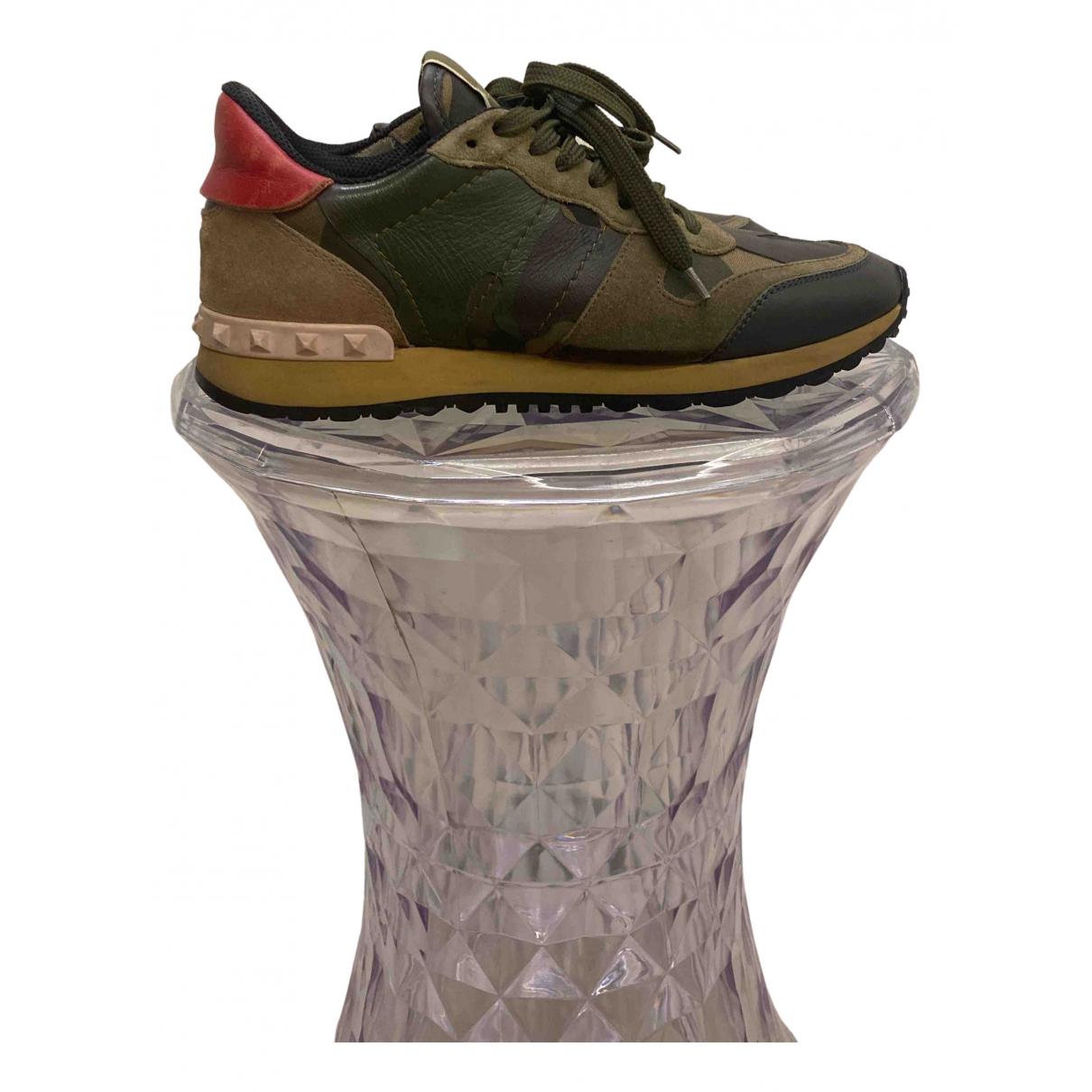 Valentino Garavani - Baskets Rockrunner pour femme en cuir - kaki