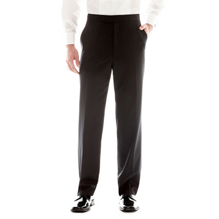 Stafford Flat-Front Tuxedo Pants, 38 29, Black