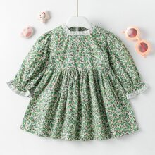 Toddler Girls Ditsy Floral Lace Insert Babydoll Dress