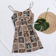 Cami Kleid mit vermischtem Tier Muster