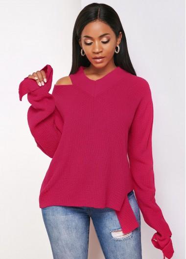 Trendy Long Sleeve Cold Shoulder Asymmetric Hem Sweater - M