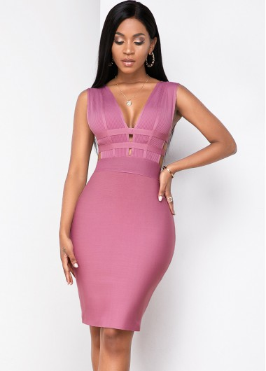 Cocktail Party Dress Low Back Plunging Neck Sleeveless Bandage Dress - XL