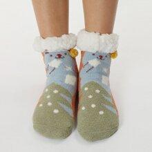 Socken mit Pompon Dekor und Karikatur Grafik