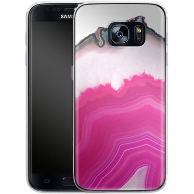 Samsung Galaxy S7 Silikon Handyhuelle - Pink Agate Slice von Emanuela Carratoni