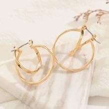 1pair Irregular Metallic Earrings